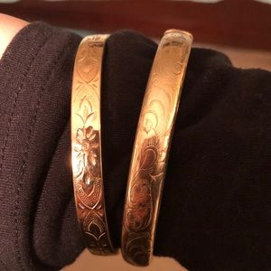 2 antique electroplated gold bangles